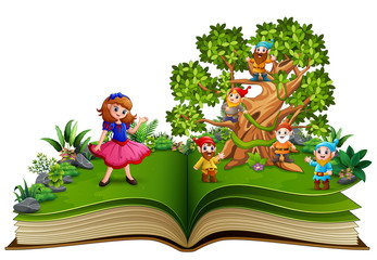 Open book with dwarf cartoon on the trees and the snow white  Fotomurales