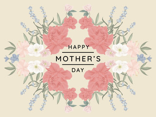 Happy mother's day greeting card design, mirror effect/ symmetry roses and other flowers wreath on light yellow background