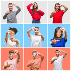 Collage of group of young people over colorful isolated background smiling making frame with hands and fingers with happy face. Creativity and photography concept.