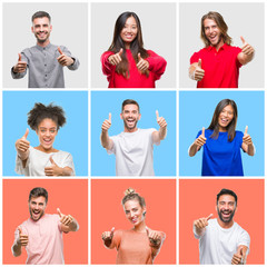 Collage of group of young people over colorful isolated background approving doing positive gesture with hand, thumbs up smiling and happy for success. Looking at the camera, winner gesture.