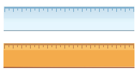 Plastic and wooden ruler