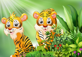 Nature scene with two tiger cartoon