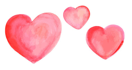 A vector set of watercolour drawings of pink hearts, isolated on a white background