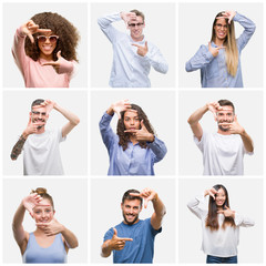 Collage of group of young people woman and men over white solated background smiling making frame with hands and fingers with happy face. Creativity and photography concept.