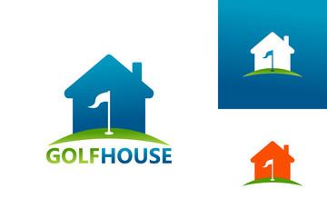 Golf House Logo Template Design Vector, Emblem, Design Concept, Creative Symbol, Icon