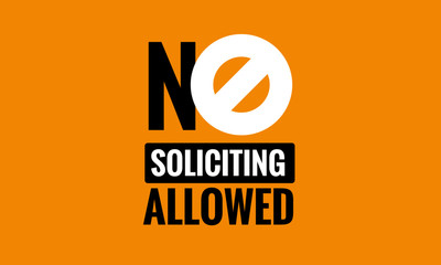 No Soliciting Allowed Sign Vector Illustration Wall mural
