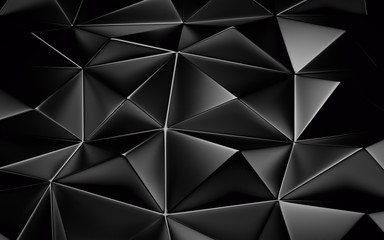 An abstract black geometrical background. 3D render