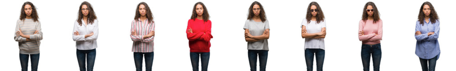 Composition of young brazilian woman isolated over white background skeptic and nervous, disapproving expression on face with crossed arms. Negative person.