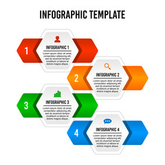 Hexagon step infographic design template.
