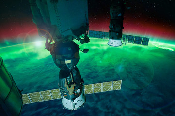 Aurora Australis from the Space Station.  Satellite view. Elements of this image furnished by NASA.
