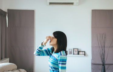 Woman with sinus and suffer from sinusitis,Healthy and nasal