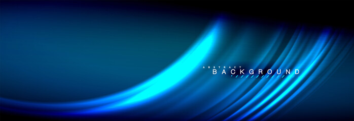 Neon glowing fluid wave lines, magic energy space light concept, abstract background wallpaper design