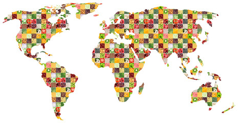 Collage of fresh mixed food. World map