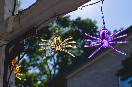 A view of the spider lights hanging from the fence in the sun waiting for the holiday.