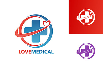 Love Medical Logo Template Design Vector, Emblem, Design Concept, Creative Symbol, Icon