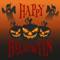 Halloween holiday banner, three glowing pumpkins, and ghosts fly at night,