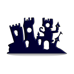 Fabulous Gothic castle, design for the holiday of Halloween, silhouette on a white background,
