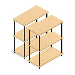 Isometric wood shelf warehouse vector