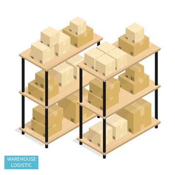 isometric warehouse logistics shipping,cardboard box vector