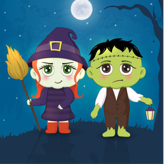 Halloween masquerade, cute children costumes. Funny characters. Invitation card for party and sale. Autumn holidays. Vector illustration EPS10.