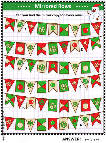 iq training winter christmas or new year themed visual logic puzzle find the exact - Christmas Logic Puzzles