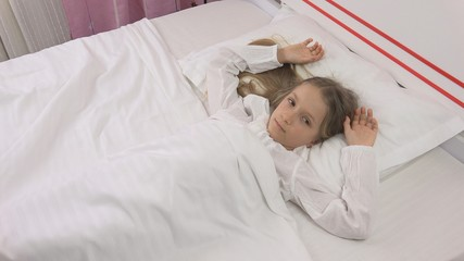 Thoughtful Child in Bed, Meditative Kid, Girl Can't Sleeping in Bedroom