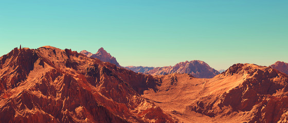 Fototapeten Pool Mars landscape, 3d render of imaginary mars planet terrain, science fiction illustration.