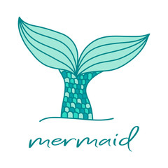 Cute mermaid tail and writing. Hand drawn illustration vector.