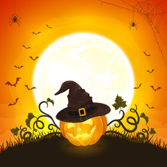 Halloween Pumpkin with Hat of Witch on Orange Background with Moon and Bats