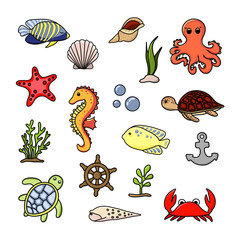 Sea animals set. Cute hand drawn illustration vector. White background.