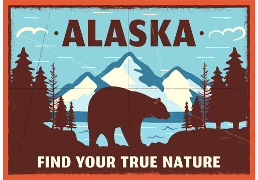 Alaska poster design. Mountain adventure patch. American travel logo. Cute retro style label, brochure. Find your true nature custom quote. Bear walking through the forest. Stock vector emblem