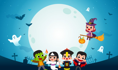 Happy Halloween background vector illustration. Frankenstein, Count Dracula, Asian ghost and Witch Cartoon style. Kids in Halloween costume party.