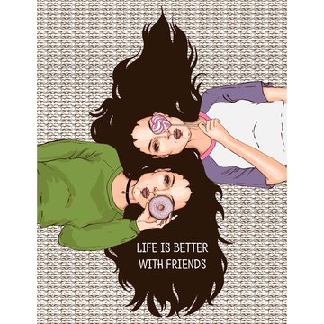Illustration with the slogan: life is better with friends. Two girlfriends lie nearby, holding a donut and a lollipop. Hand drawn sketch. Vector illustration.