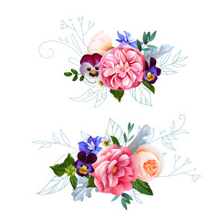 Cute bouquets with watercolor effect