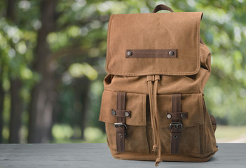 Brown backpack on a natural background