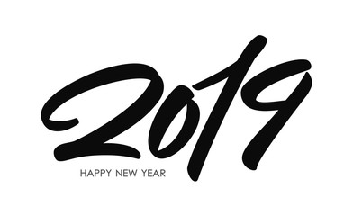 Handwritten type lettering for 2019 New Year of the Pig. Black hand drawn number on white background. Typography design