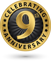 Celebrating 9th anniversary gold label, vector illustration
