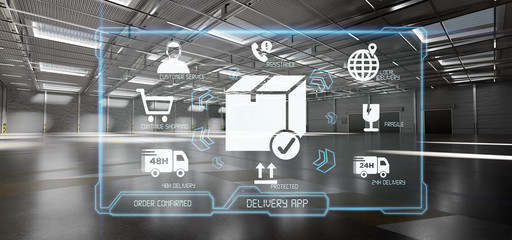 Logistic delivery service application on a warehouse background 3d rendering