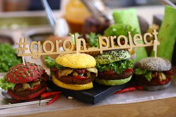 vegan burger in assortment with falafel and vegetables