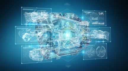 Wireframe holographic 3D digital projection of an engine