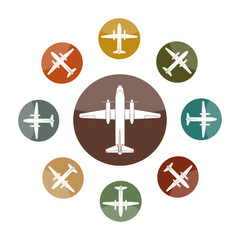 Set of flat multi-colored icons with the image of an airplane