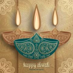 Greeting card for Diwali festival celebration in India. Vector illustration
