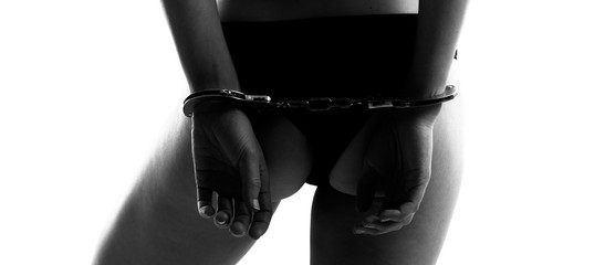 Autocollant pour porte Akt Sexy woman in lingerie with handcuffs