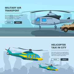 Banners with helicopters. Design template of horizontal banners with pictures of helicopters. Helicopter military army, transportation aviation illustration