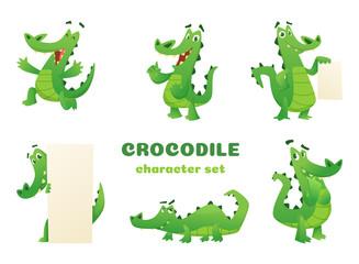Cartoon crocodile characters. Alligator wild amphibian reptile green big animals vector mascots designs in various poses. Alligator animal, reptile green illustration