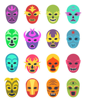Lucha libre mask. Martial wrestler fighter clothes sport uniform colored masks vector colored icon. Illustration of mask wrestling, latino mexican costume luchador