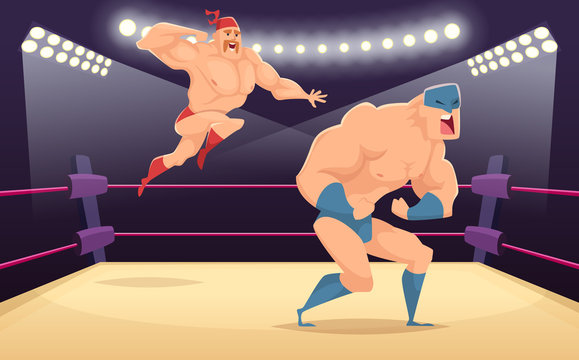 Wrestler fighters cartoon. Cartoon martial characters at ring funny action vector sport background. Illustration of wrestler fighter on ring, tradition costume wrestling