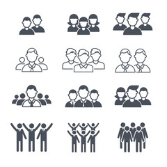 Business team symbols. People corporate crowd employee silhouettes vector icon set. Leader and social group, silhouette teamwork illustration