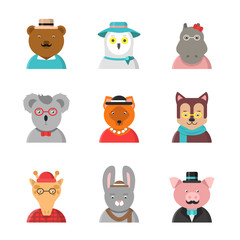 Animal avatars. Cute hipster animals fox bear dog giraffe owl in funny clothes and accessories vector flat characters. Character avatar wild animal hipster illustration