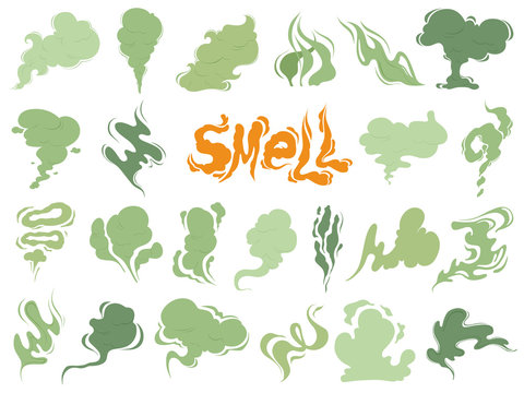 Bad smell. Steam smoke clouds of cigarettes or expired old food vector cooking cartoon icons. Illustration of smell vapor, cloud green aroma
